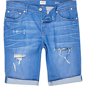 Blue ripped skinny stretch denim shorts
