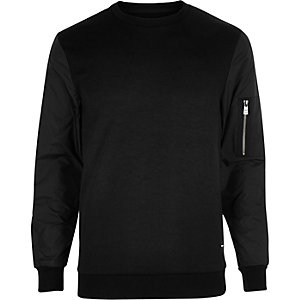 Black Only & Sons zip sleeve sweatshirt