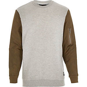 Grey Only & Sons contrast sleeve sweatshirt