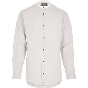 White stripe Holloway Road grandad shirt