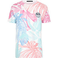 White Friend or Faux tropical print t-shirt
