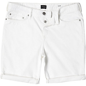 Off white slim denim shorts