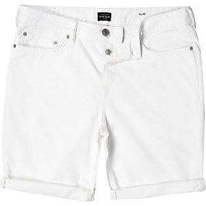 Off white slim denim shorts