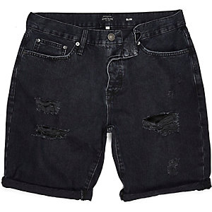 Black washed ripped slim shorts