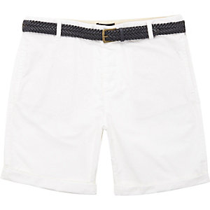 White belted Oxford knee length shorts