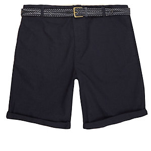 Navy blue belted Oxford knee length shorts