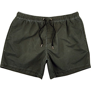 Washed black drawstring swim trunks