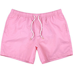 Pink drawstring swim shorts