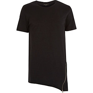 Black zip asymmetric hem t-shirt