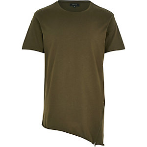 Dark green zip asymmetric hem t-shirt
