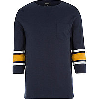 Navy stripe 3/4 sleeve t-shirt