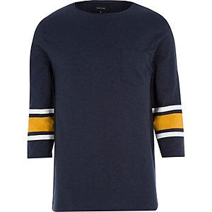 Navy stripe 3/4 sleeve t-shirt