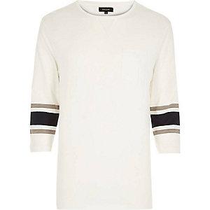 White 3/4 stripe sleeve top