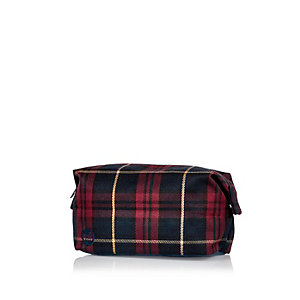 Red Mipac tartan washbag
