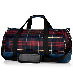 Red Mipac tartan weekend bag