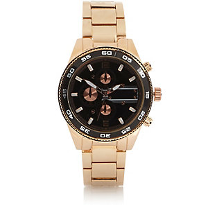 Gold tone contrast face bracelet watch