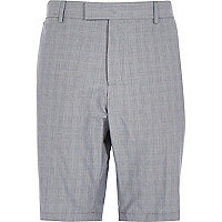 Grey Prince of Wales check shorts