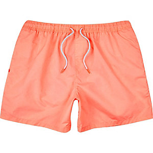 Pink drawstring swim trunks