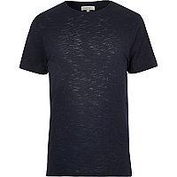 Navy stepped hem t-shirt