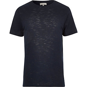 Navy stepped hem t-shirt