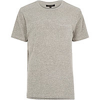 Grey towelling stepped hem t-shirt