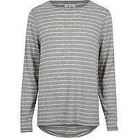 Grey stripe curved hem t-shirt t-shirt