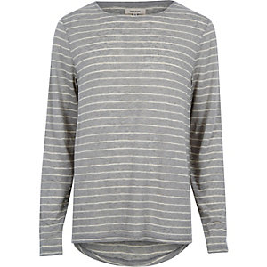 Grey stripe curved hem t-shirt t-shirt
