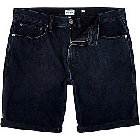 Black acid wash slim denim shorts