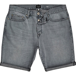 Grey slim denim shorts