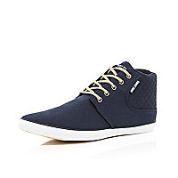 Navy Jack & Jones quilted demi boots