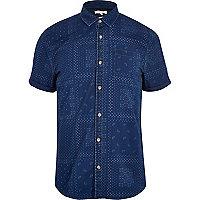 Blue bandana print denim shirt