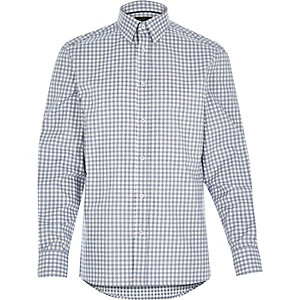Grey grid check long sleeve shirt