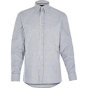 Grey grid check long sleeve shirt