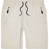 Ecru textured drawstring shorts