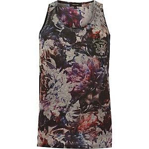 Grey floral San Fran print vest