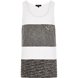 White block stripe slogan print vest