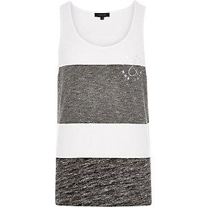 White block stripe slogan print vest