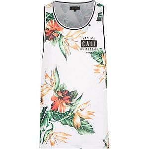 White Cali print floral mesh vest