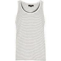 Ecru fine stripe vest