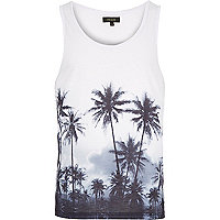 White palm tree print curved hem vest