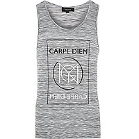 Grey space dye carpe diem print vest