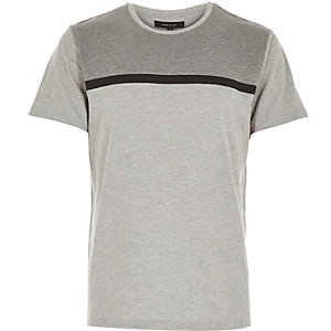 Grey block print t-shirt