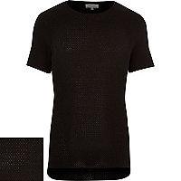 Black short sleeve textured jumper