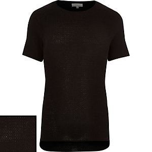 Black short sleeve textured jumper