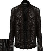 Black mesh open cardigan
