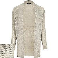 Grey mesh open cardigan