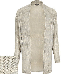 Grey mesh open cardigan