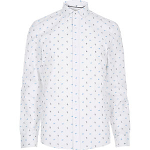 White paisley print long sleeve shirt