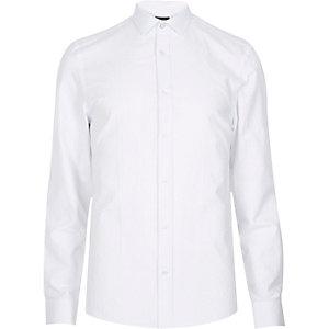 White jacquard paisley print shirt