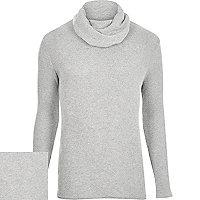 Grey textured long sleeve cowl neck jumper